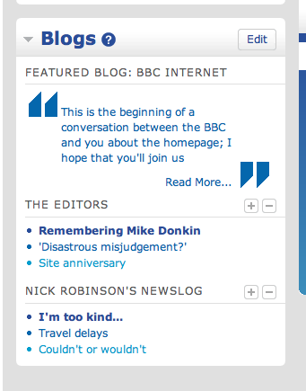blog network feeds front page